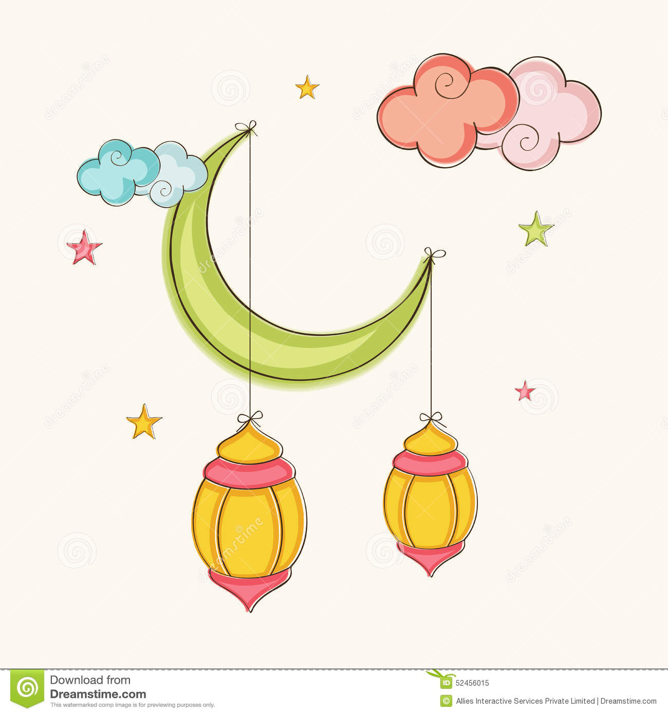 Arabic Lanterns Hanging By Moon For Ramadan Kareem ...