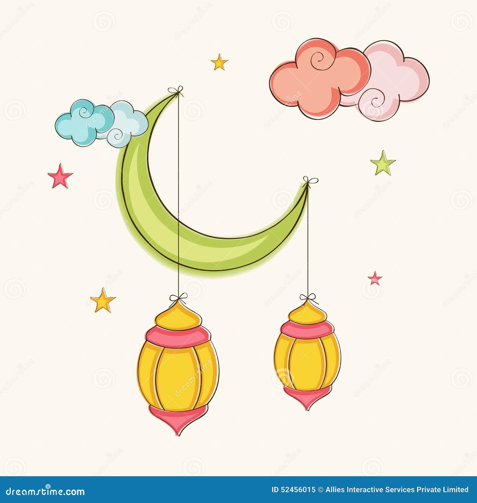 Arabic Lanterns Hanging By Moon For Ramadan Kareem
