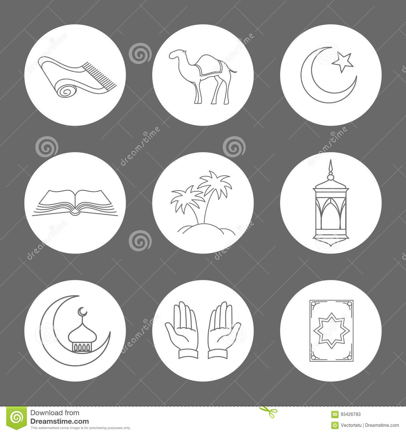 Arabic Linear Icons Set Stock Vector Image 93426783