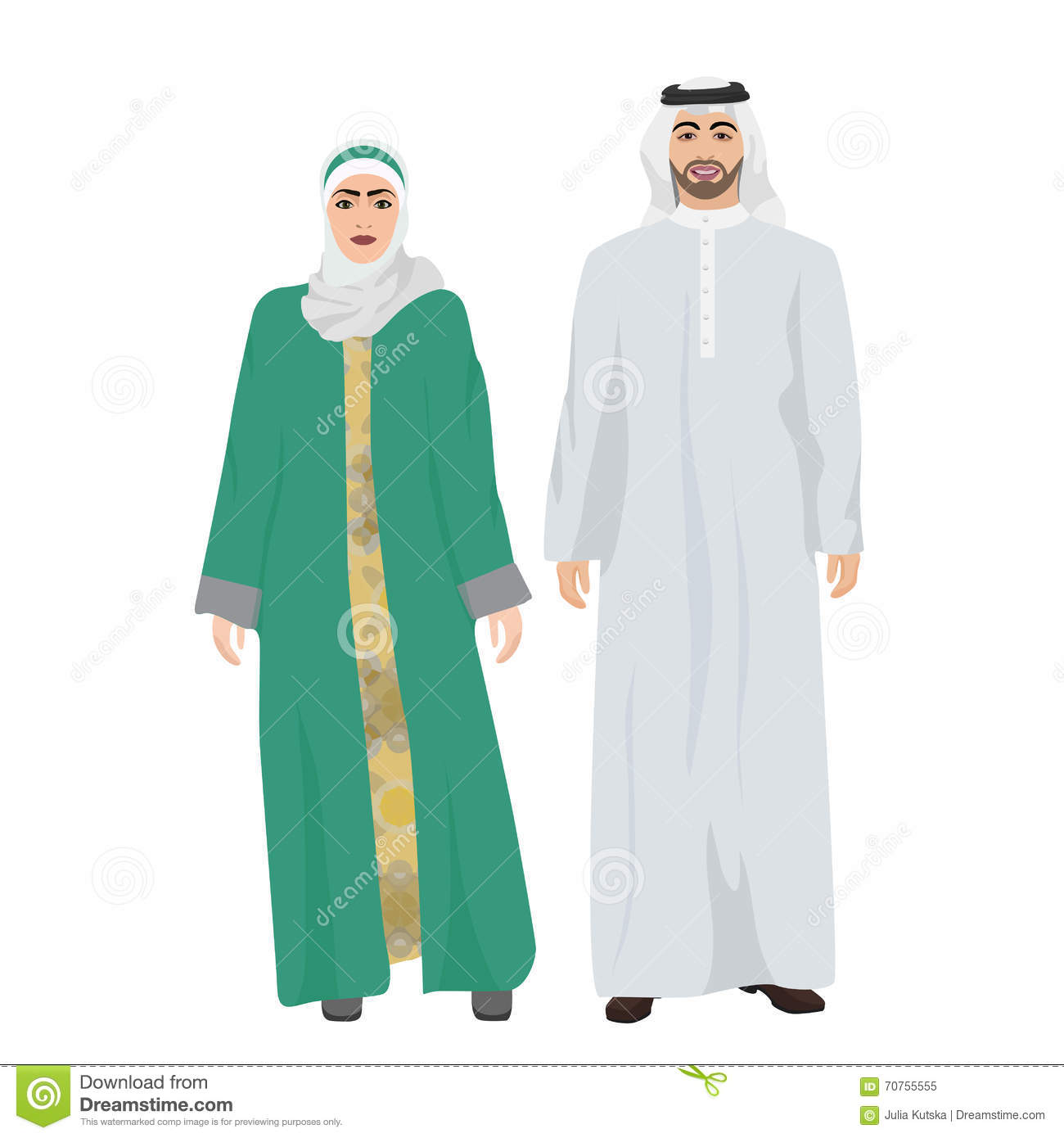 Arabic Man Male And Woman Female Together In Traditional ...