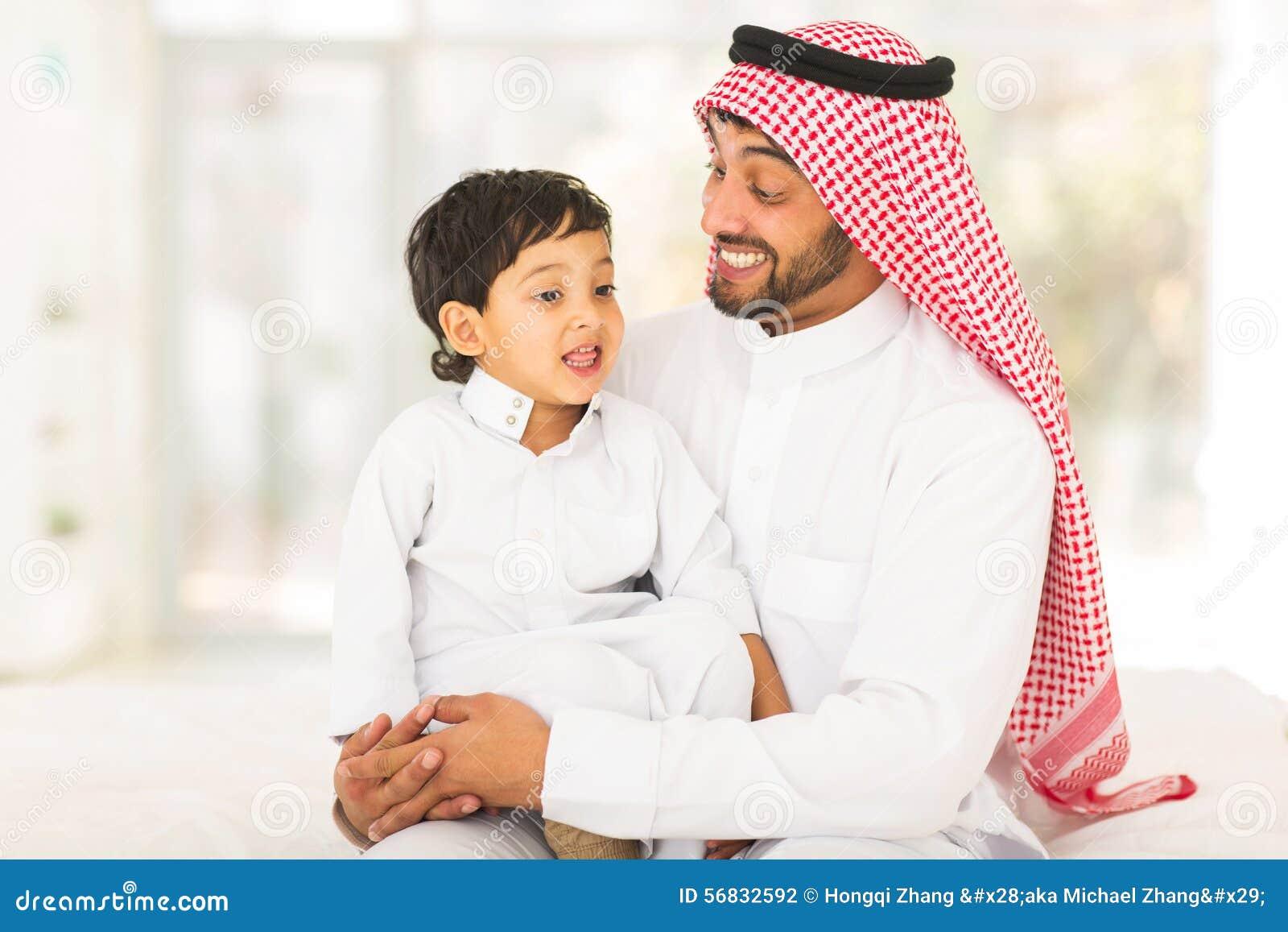 Arabic Man Talking Son Stock Photo Image 56832592