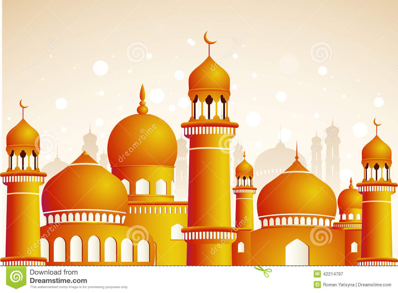 Wallpaper download eid mubarak - Arabic Mosque On Shiny Light Background Stock Vector
