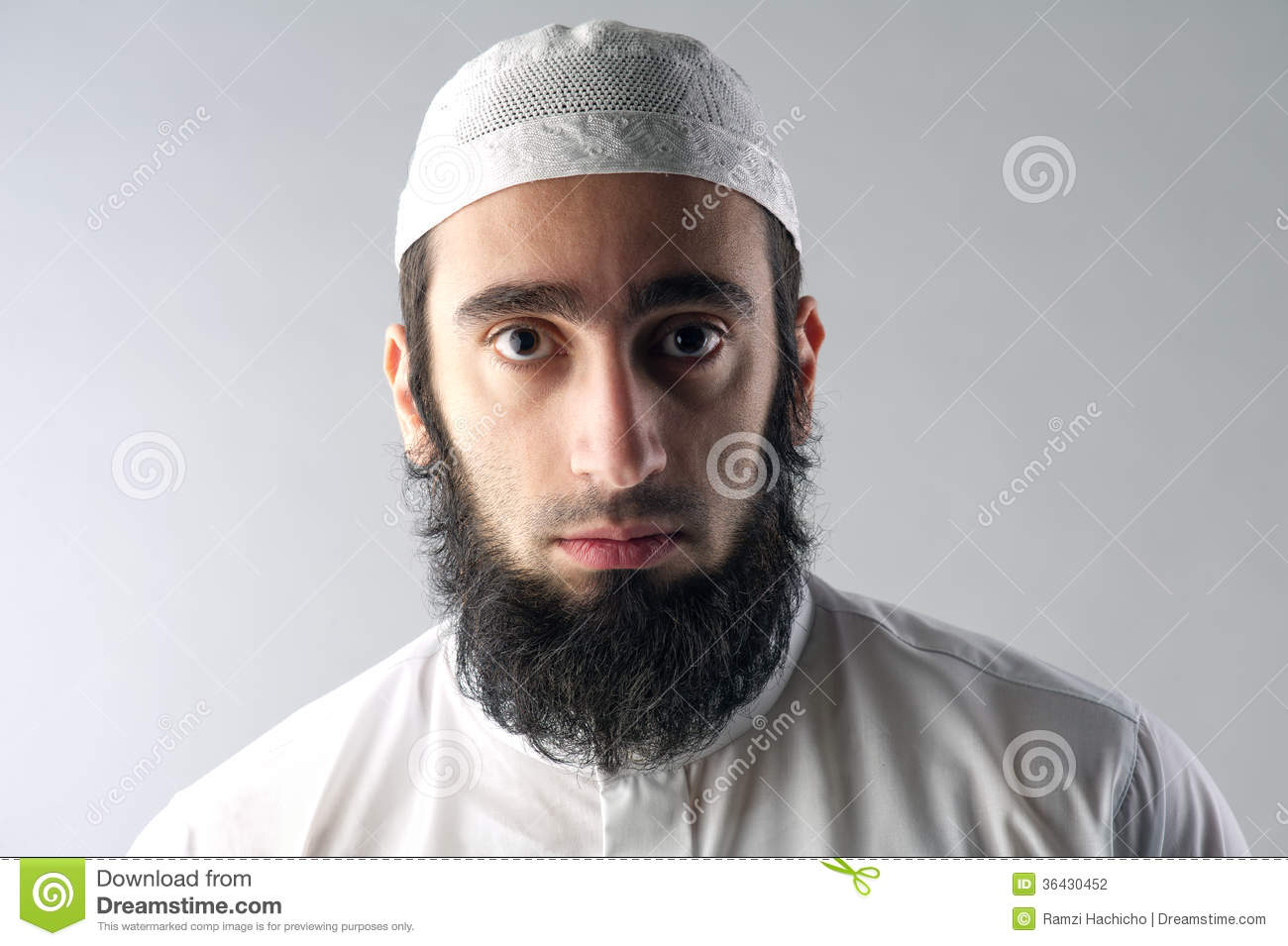 Arabic Muslim Man With Beard Portrait Stock Photography - Image ...