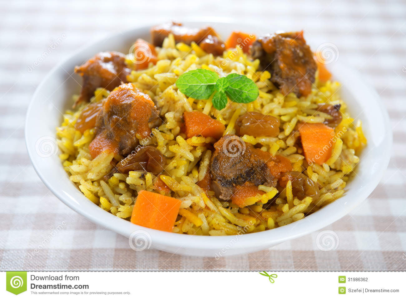 Arabic mutton rice stock photo image of bowl meal for Arabic cuisine food
