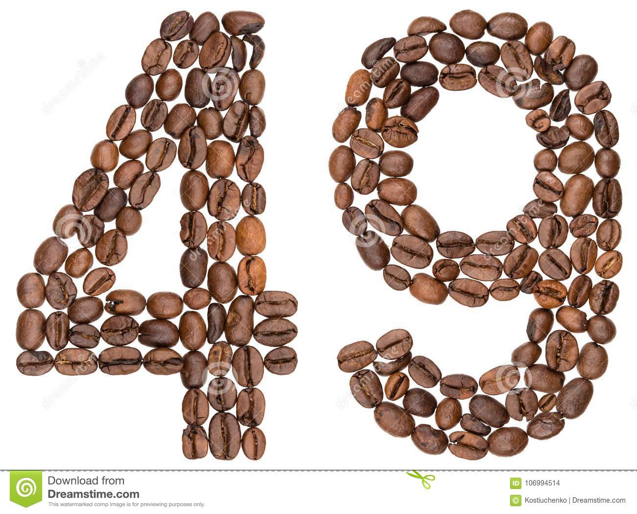 Arabic numeral 49, forty nine, from coffee beans, isolated on white background