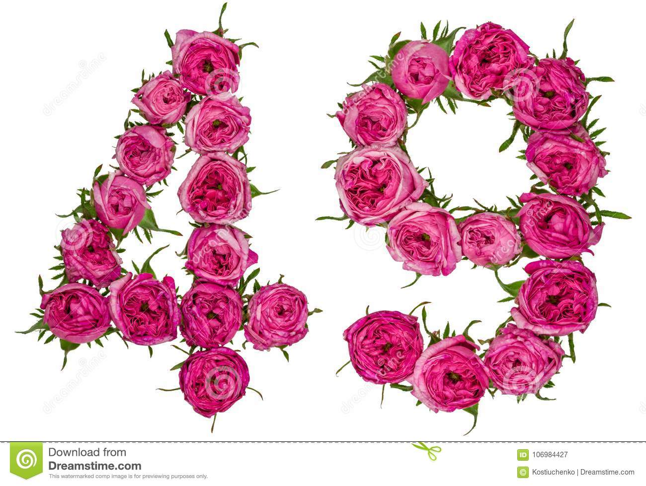 Arabic numeral 49, forty nine, from red flowers of rose, isolate