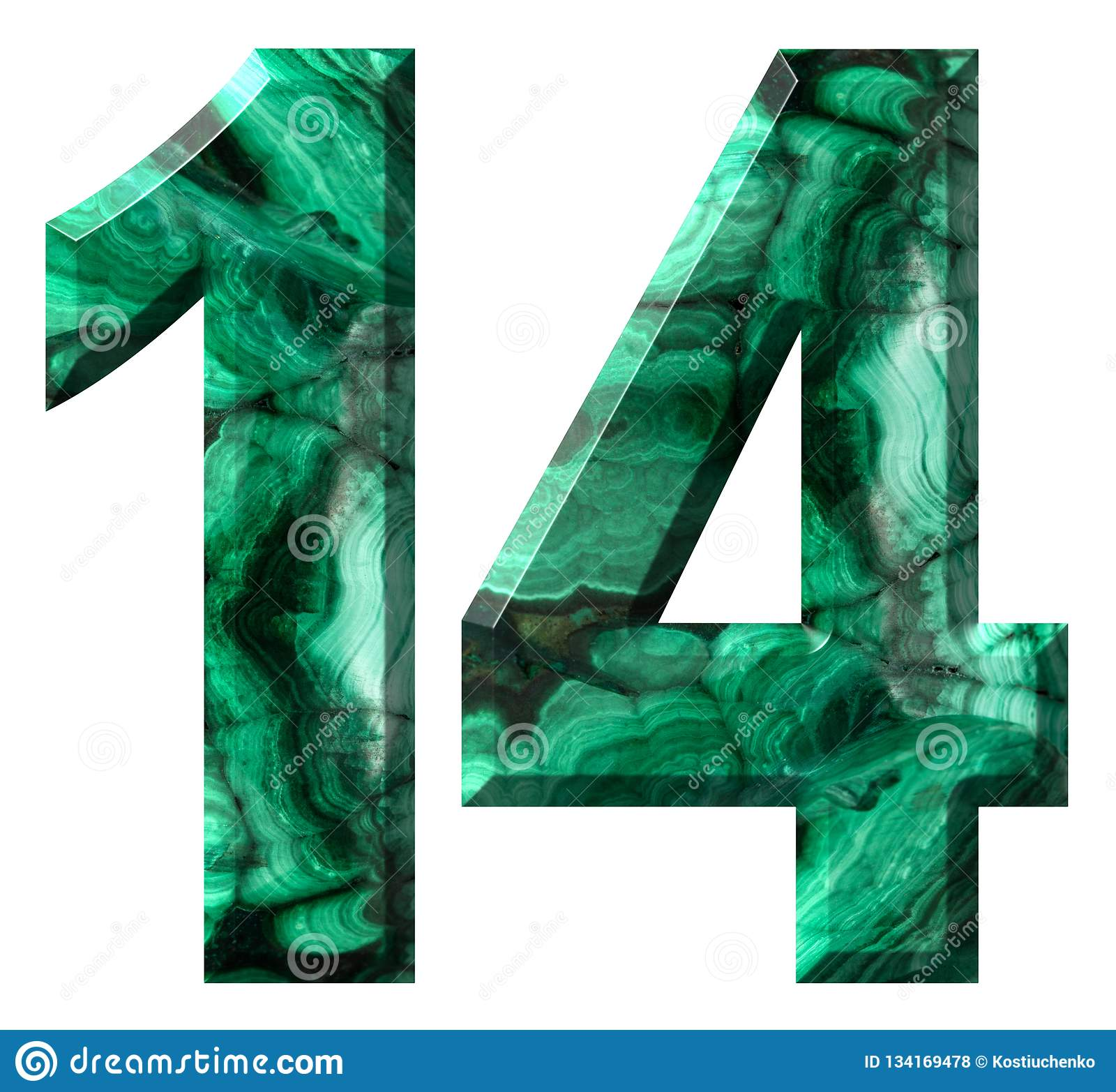 Arabic numeral 14, fourteen, from natural green malachite, isolated on white background