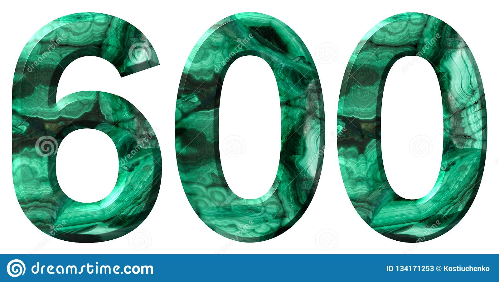 Arabic numeral 600, six hundred, from natural green malachite, isolated on white background