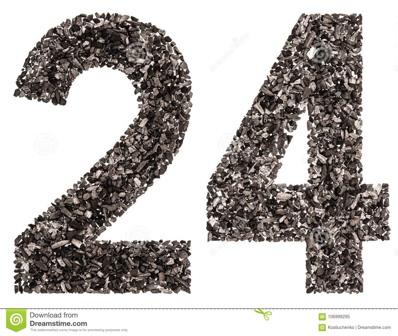 Arabic numeral 24, twenty four, from black a natural charcoal, i