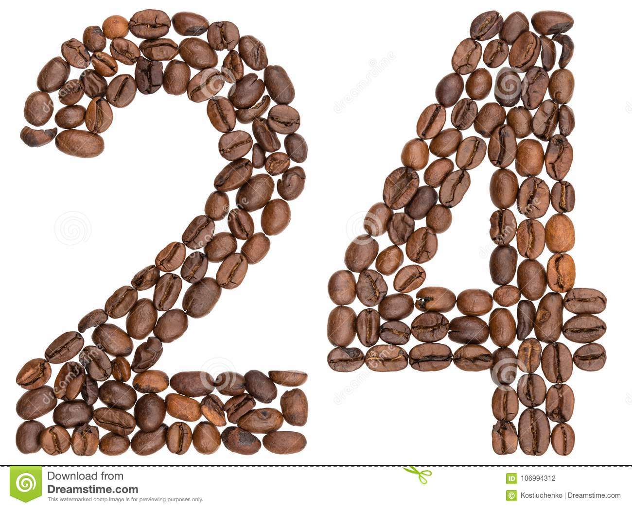 Arabic numeral 24, twenty four, from coffee beans, isolated on w