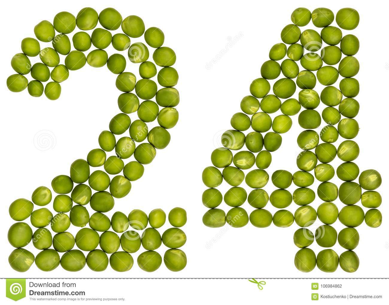 Arabic numeral 24, twenty four, from green peas, isolated on white background