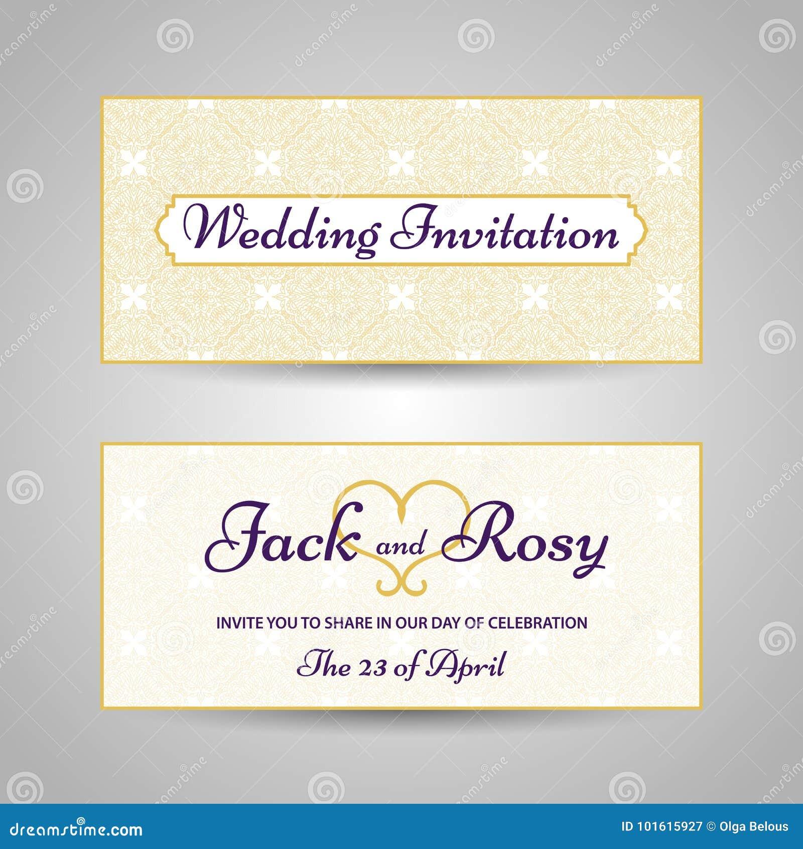 Arabic Style Wedding Invitation Stock Vector - Illustration of card ...