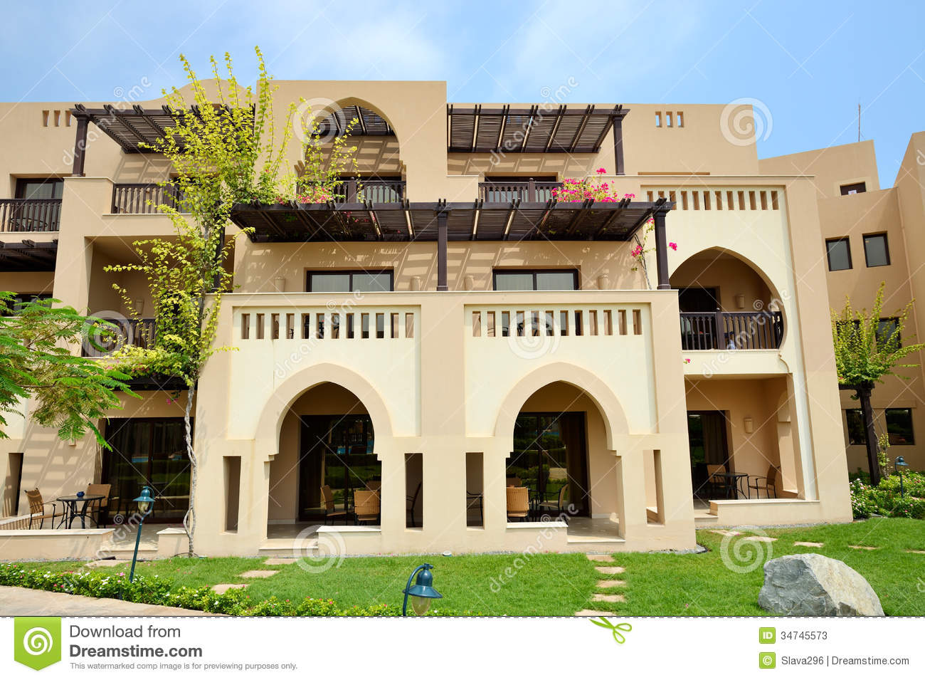 The arabic style villas in luxury hotel stock image for Architecture arabe