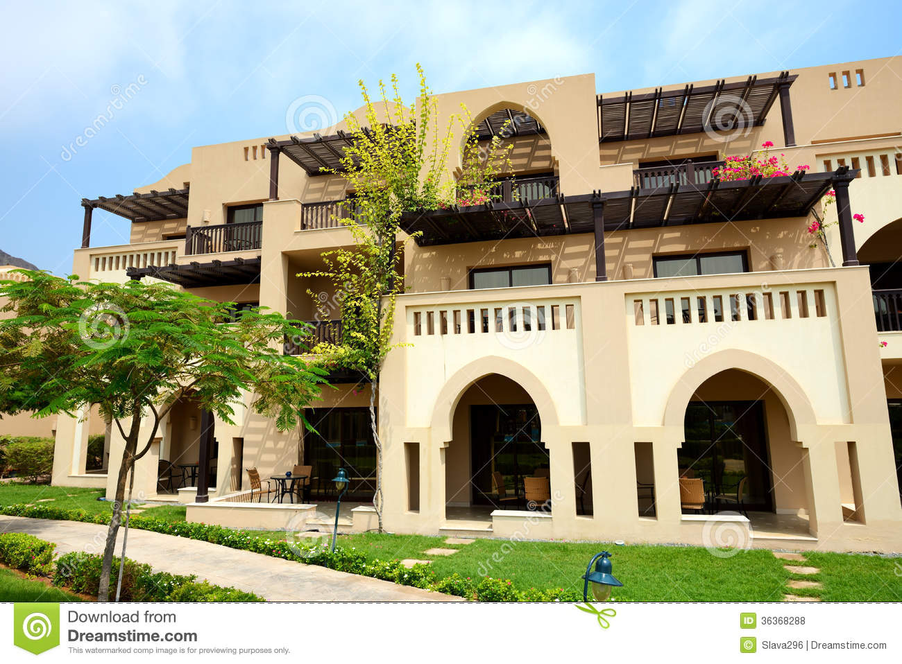 The arabic style villas in luxury hotel royalty free stock for Architecture arabe