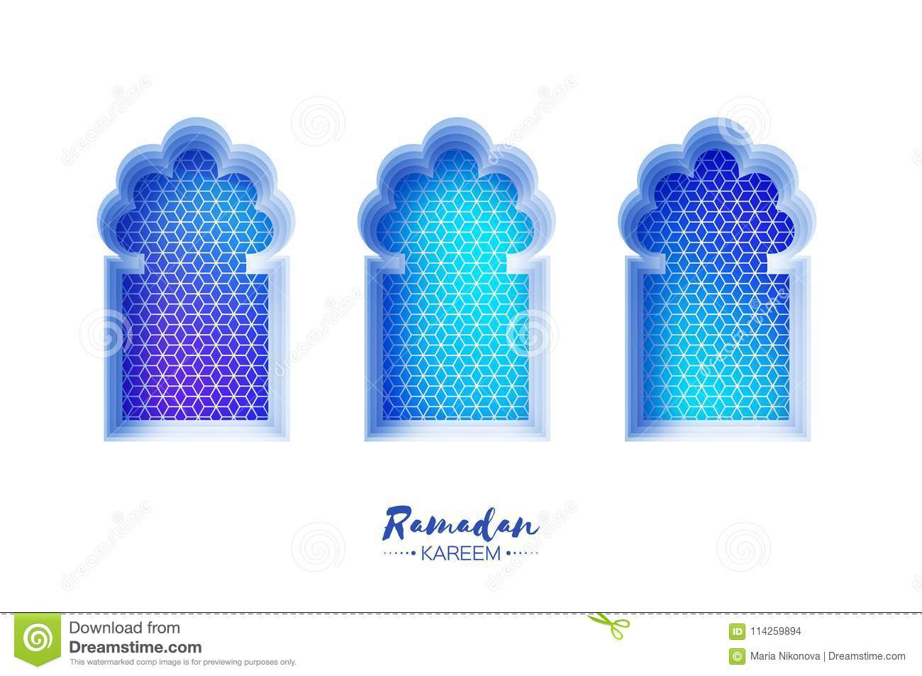 Arabic window arch in paper cut style. Origami Ramadan Kareem greeting cards. Arabesque pattern. Crescent Moon. Holy