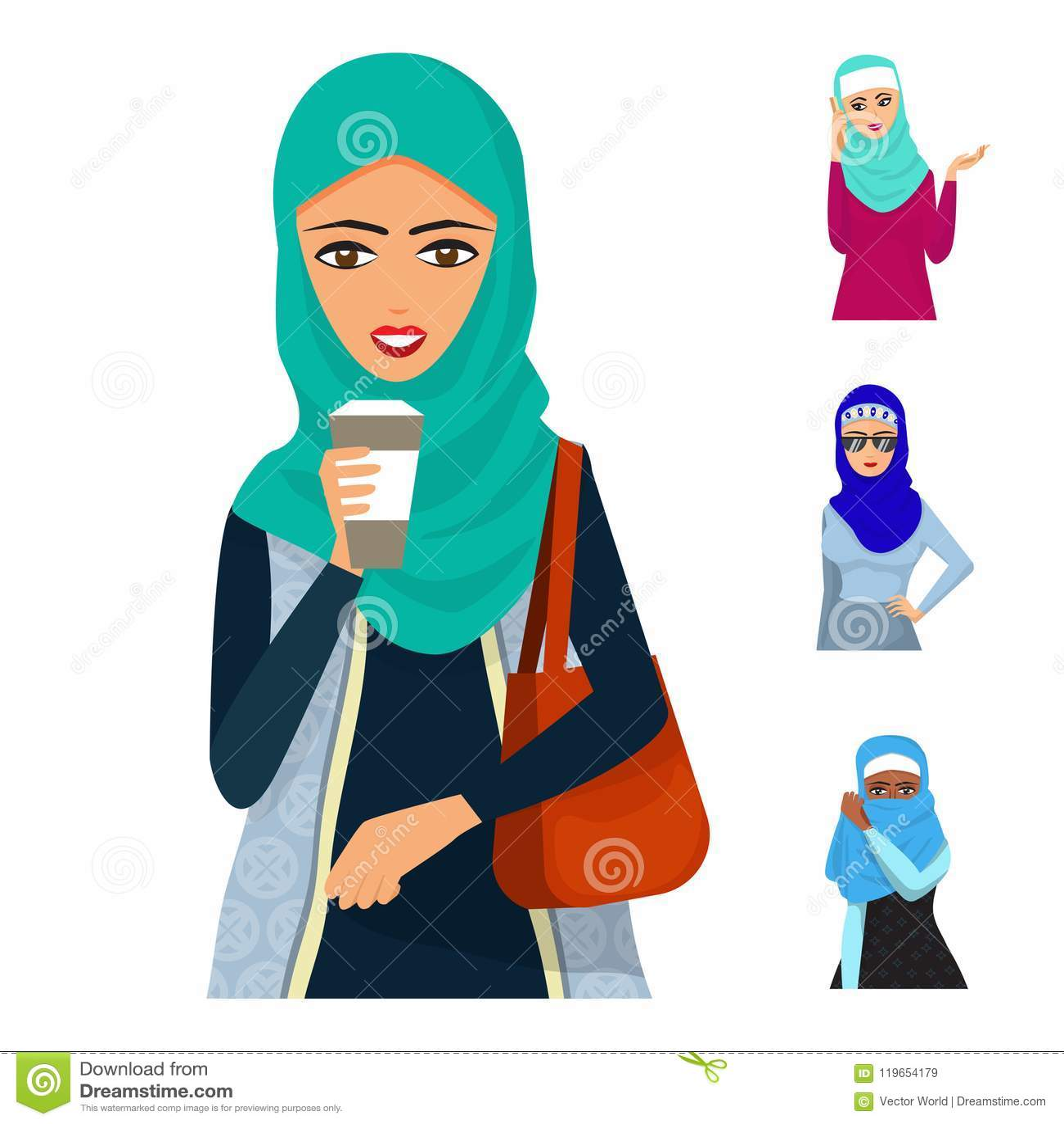 Arabic Woman Adult Character Arabian Asia Nationality Islamic Girl Face Hijab Vector Illustration