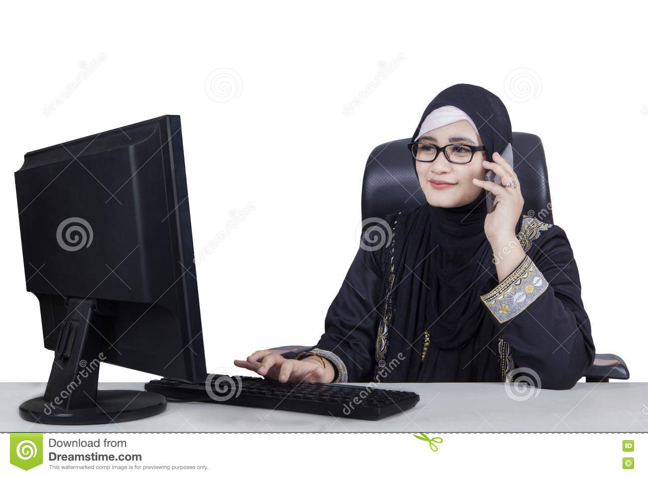 Arabic woman working with a computer