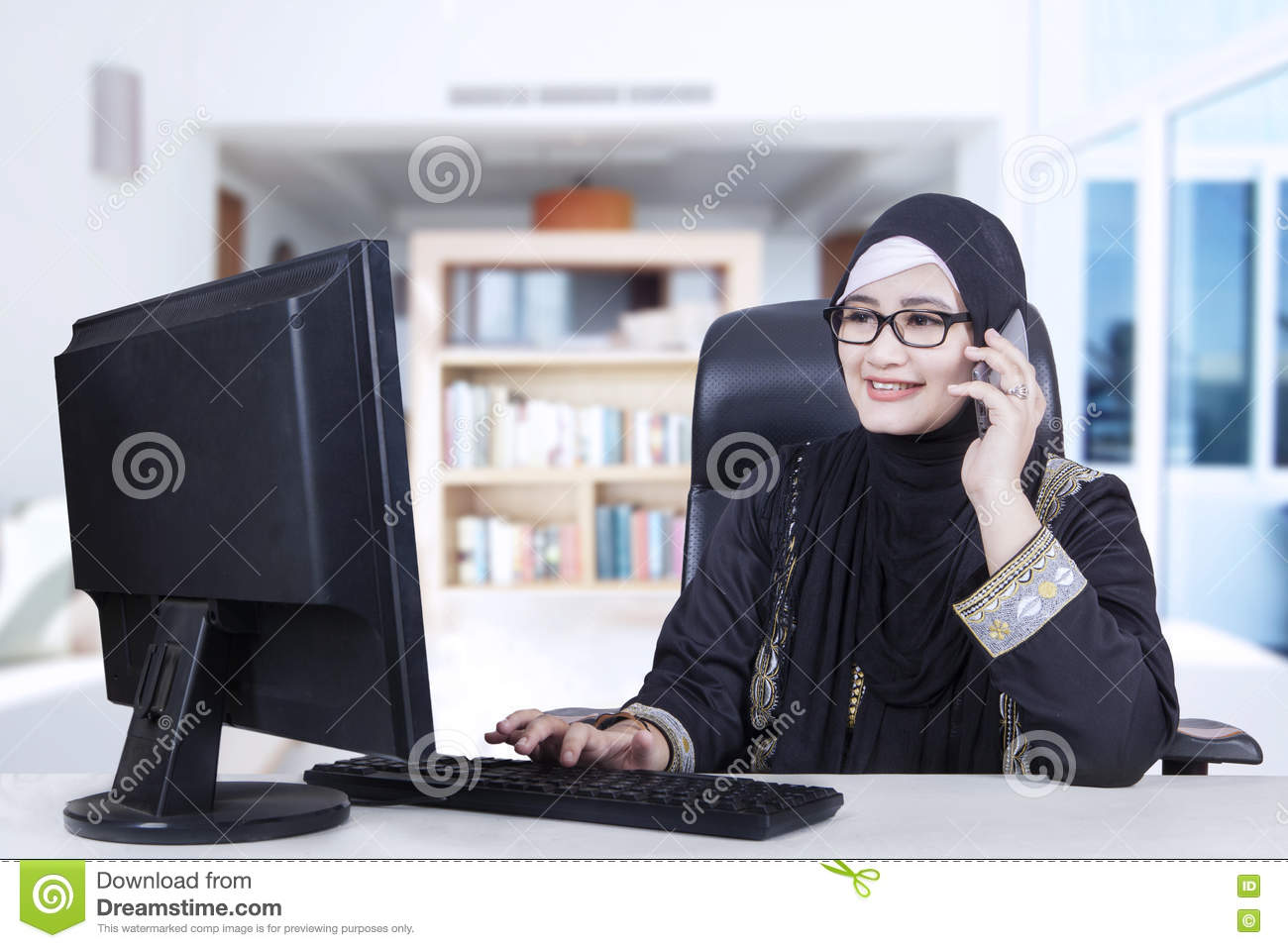 Arabic woman working at home