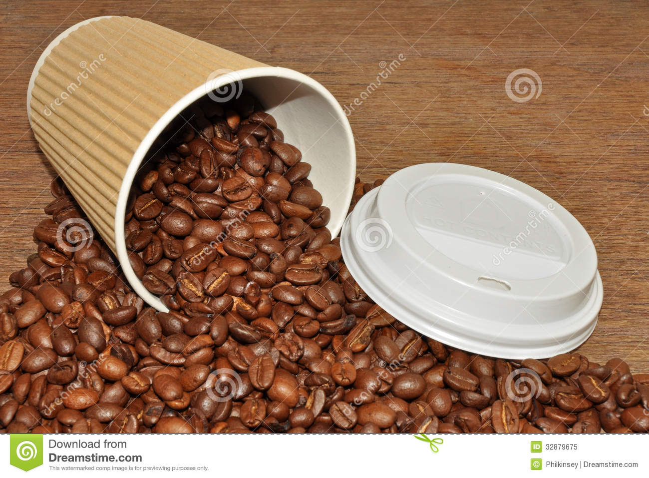Arabica Coffee Beans And Coffee Beans And Cup Background