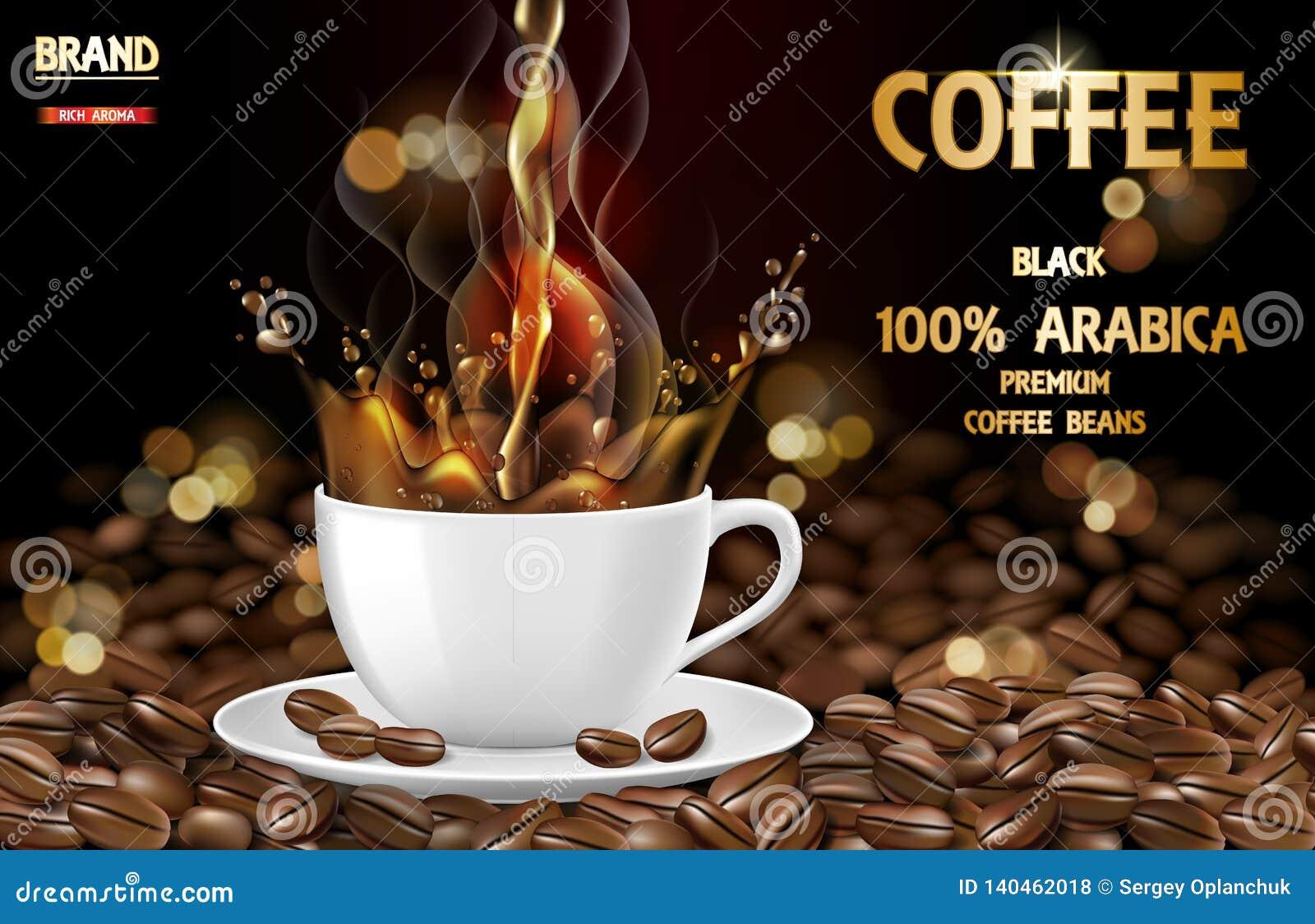 Arabica czarna filiżanka z pluśnięcia i fasoli reklamami 3d ilustracja gorącego arabica kawowy kubek Produktu projekt wektor