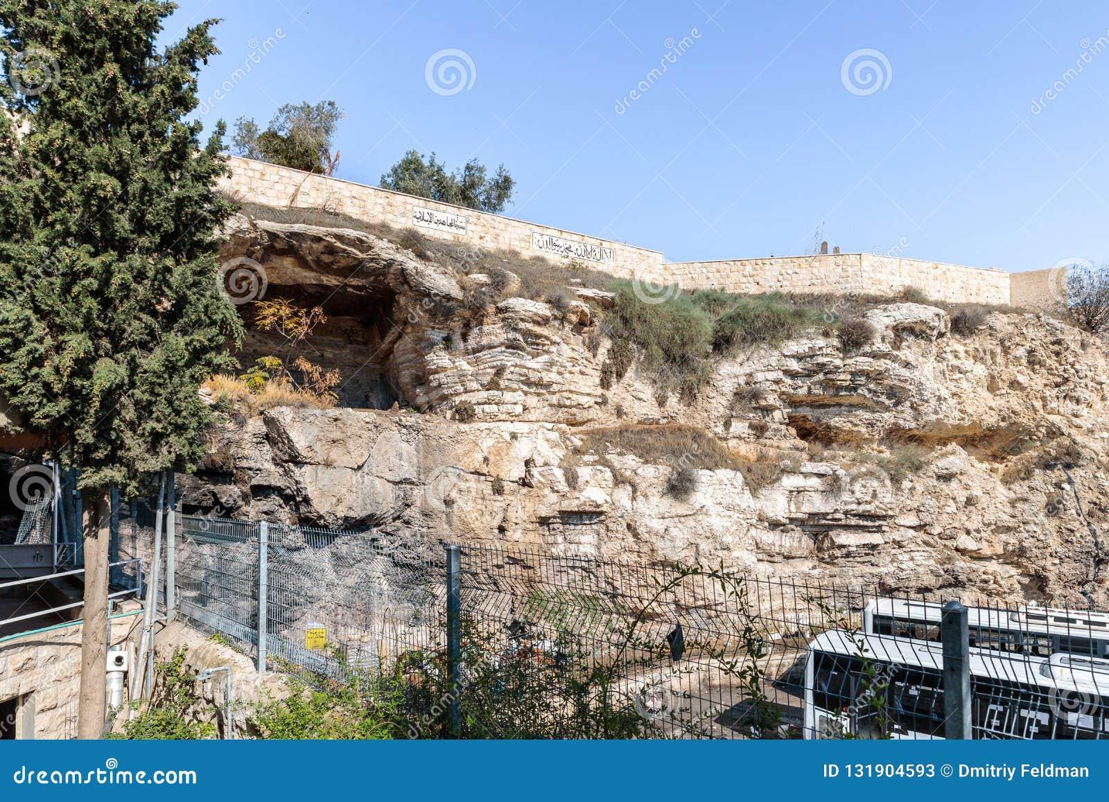 Arabische begraafplaats op Kale Berg - Calvary Weergeven van het Tuingraf Jeruzalem in Oost-Jeruzalem, Israël wordt gevestigd dat