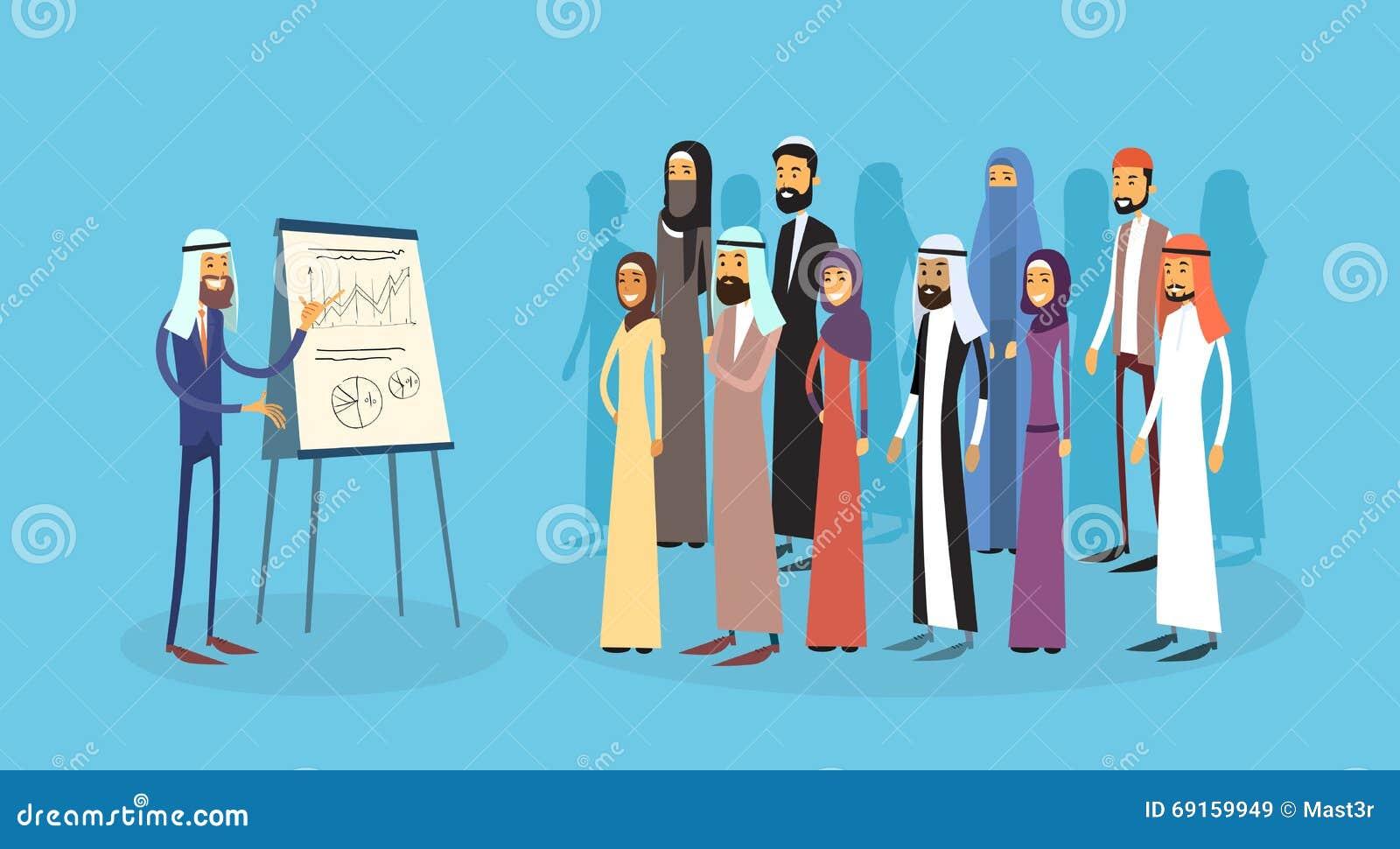 Arabische der Gruppen-Geschäftsleute Darstellungs-Flip Chart Finance, arabische Wirtschaftler Team Training Conference Muslim