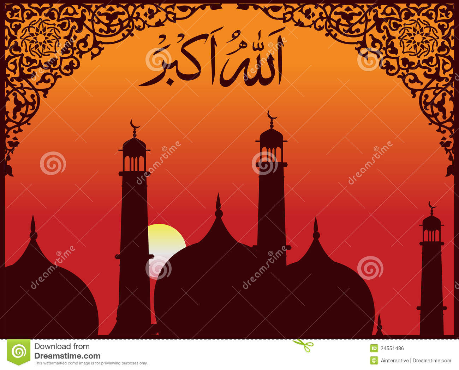 arabische islamische kalligraphie von allah o akbar stockfoto bild von gl hen sch n 24551486. Black Bedroom Furniture Sets. Home Design Ideas