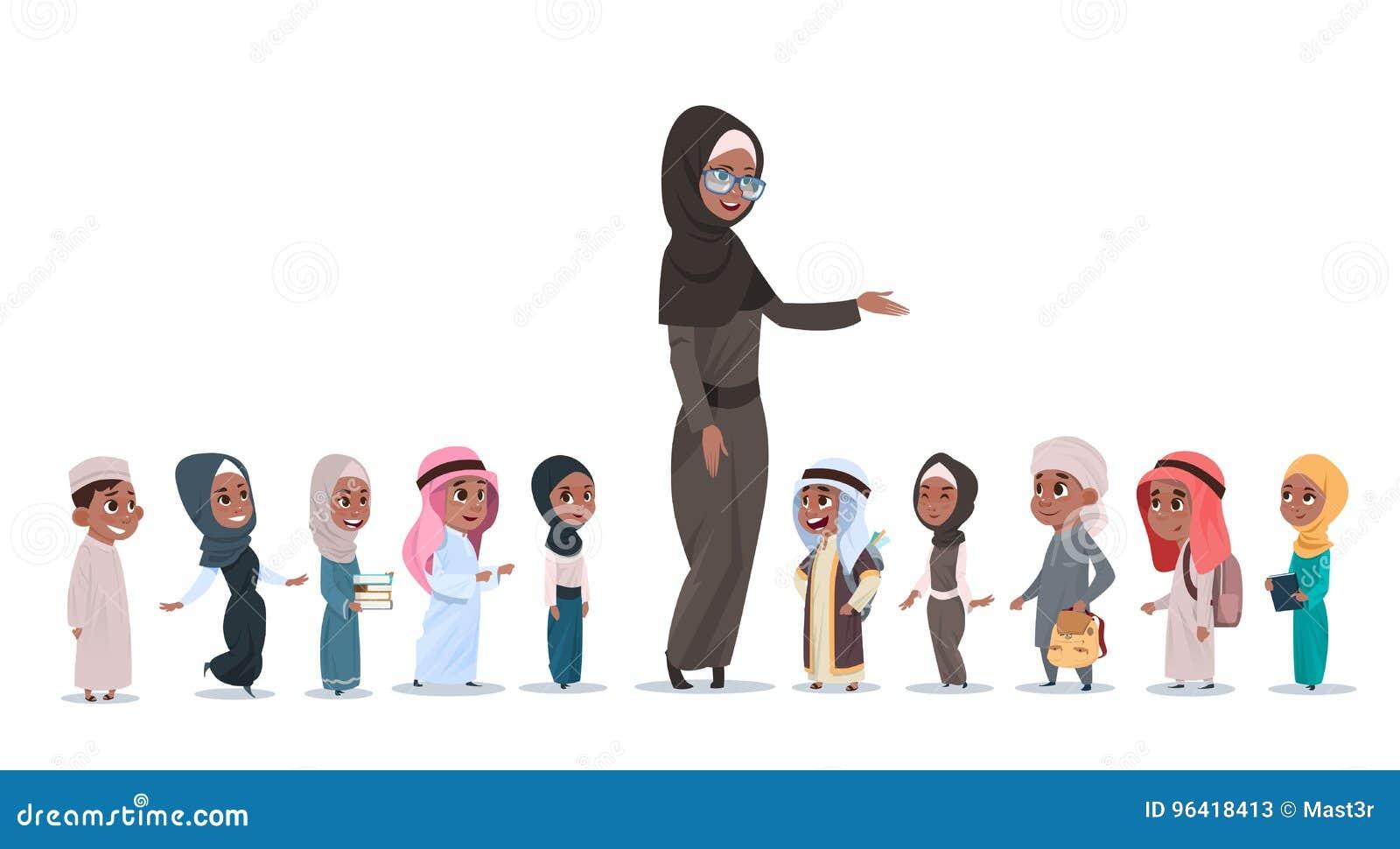 Arabische Kinderenleerlingen met Vrouwelijke Leraar Muslim Schoolchildren Group