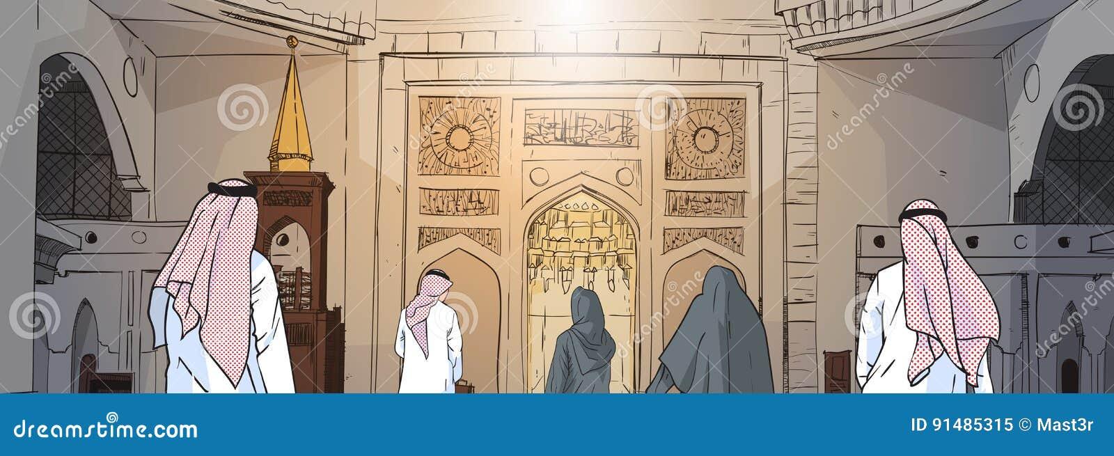 Arabische Leute, die zur Moscheen-Gebäude-moslemischen Religion Ramadan Kareem Holy Month kommen