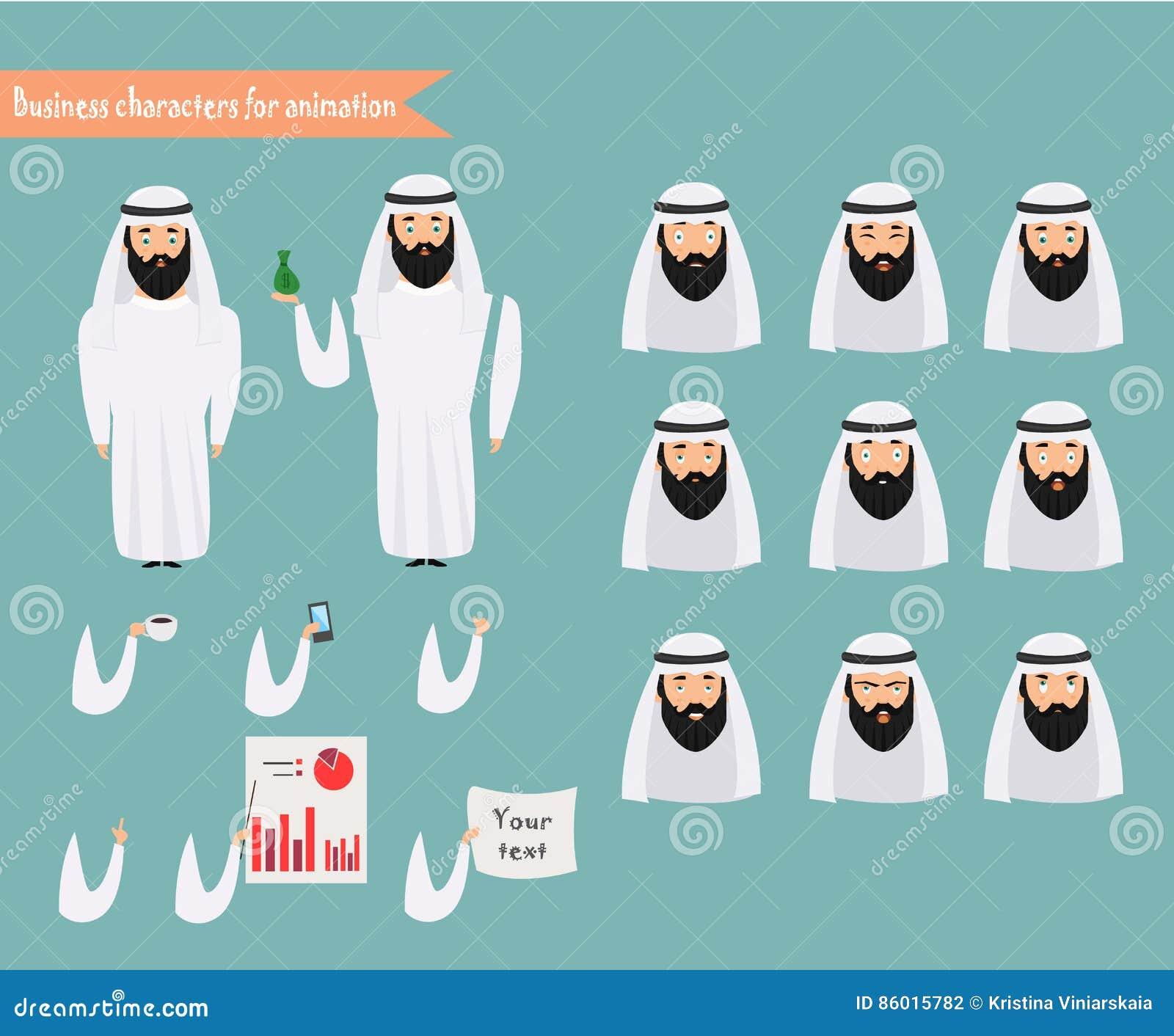 Arabischer Charakter Für Szenen Teile Der Körperschablone Für ...