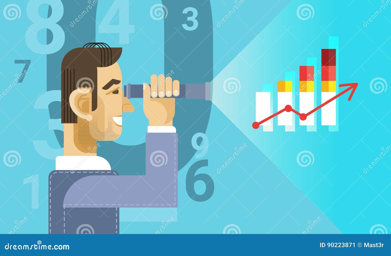 Arabischer Geschäftsmann, der binokular schaut, um Diagramm-Diagramm-Bericht zu finanzieren