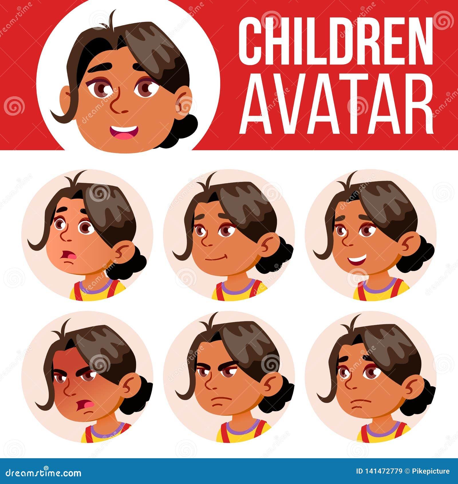Arabischer, moslemischer Mädchen-Avatara-Satz-Kindervektor kindergarten Stellen Sie Gefühle gegenüber Karikatur, komisch, flach W