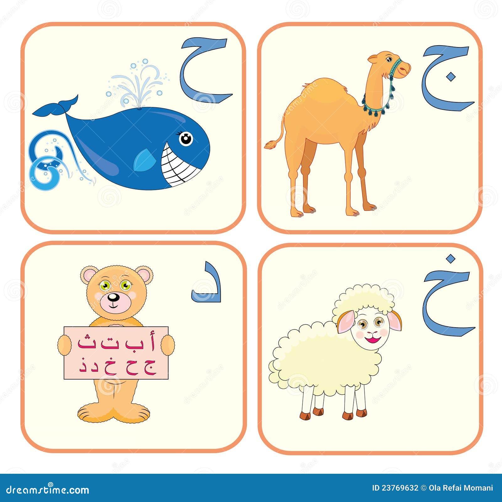 Arabisches alphabet für kinder mit seinen netten zeichnungen