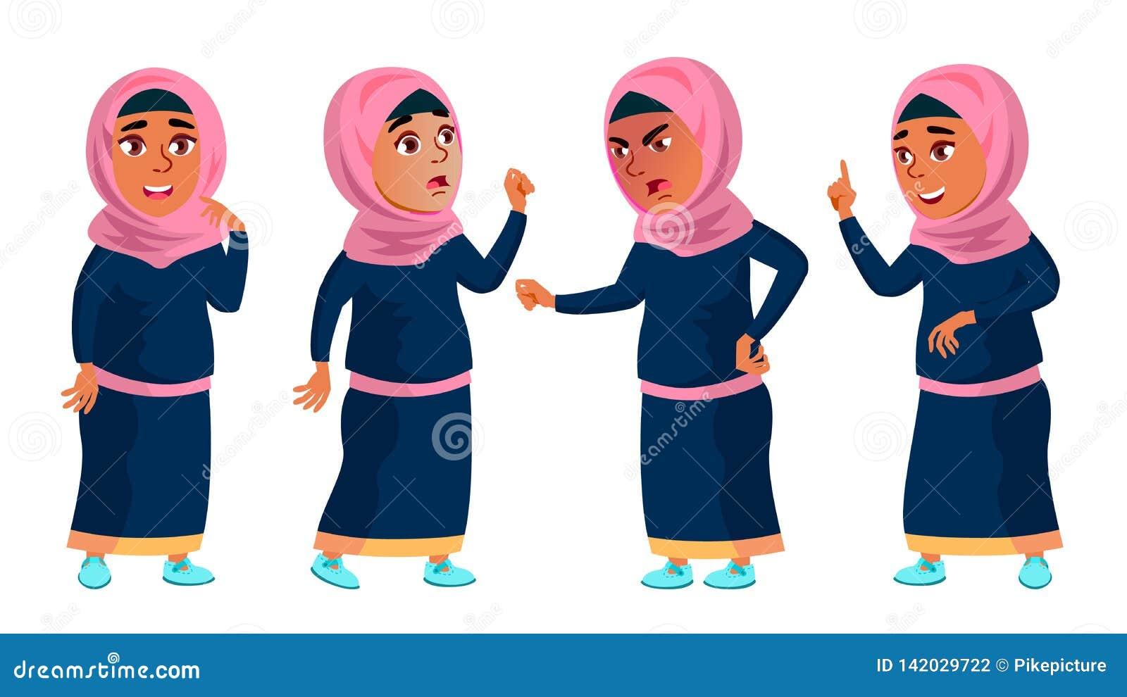 Arabisk muslimsk flickaskola, flickaunge poserar den fastställda vektorn barn tonårs- beklär traditionellt För rengöringsduk bros