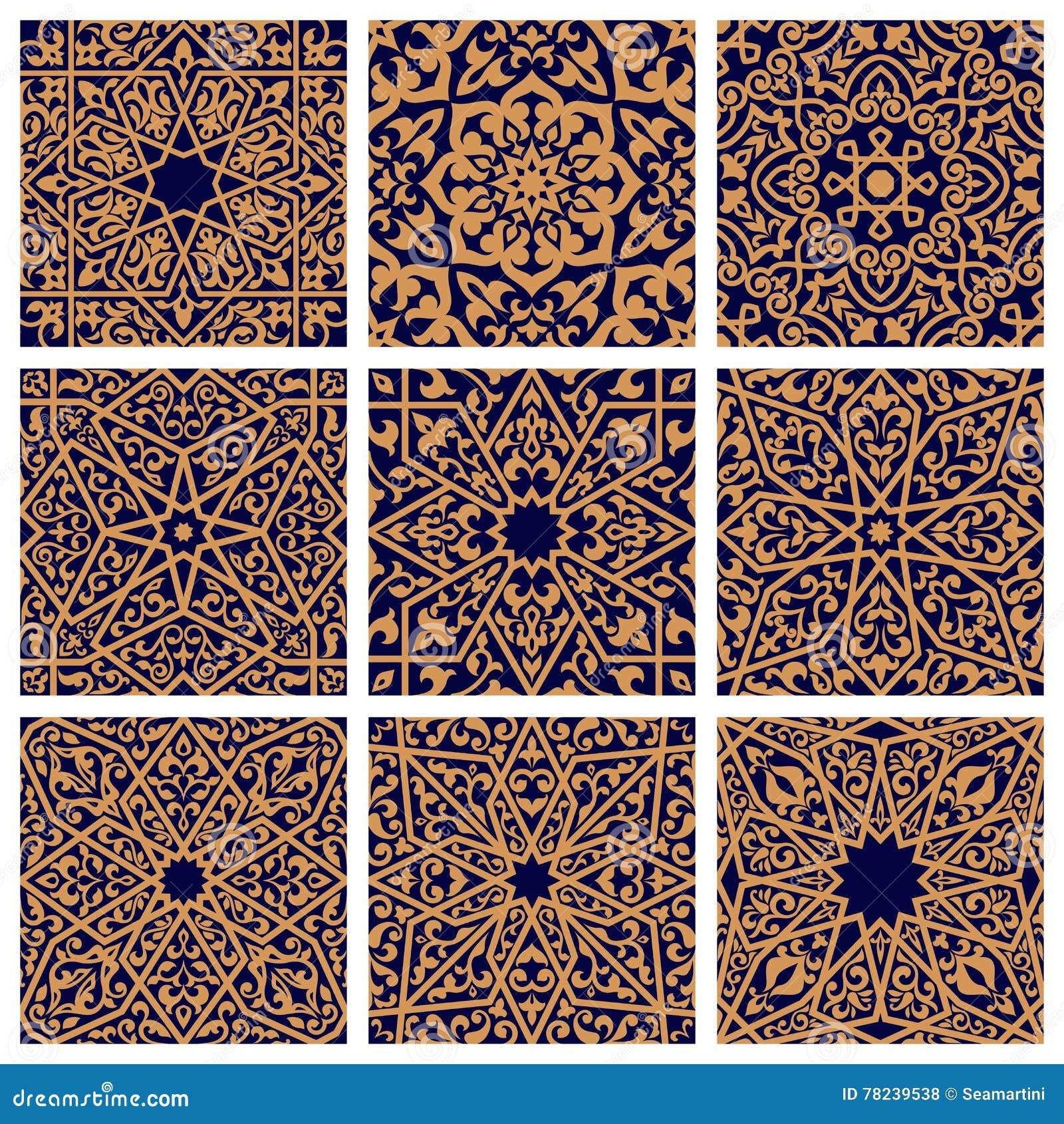Arabisk sömlös blom- modelluppsättning för tegelplattadesign