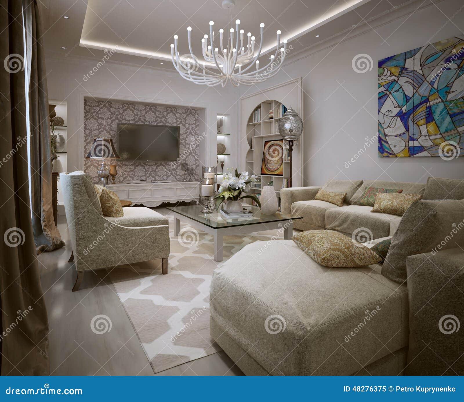 Arabisk stil för vardagsrum stock illustrationer   bild: 48276431