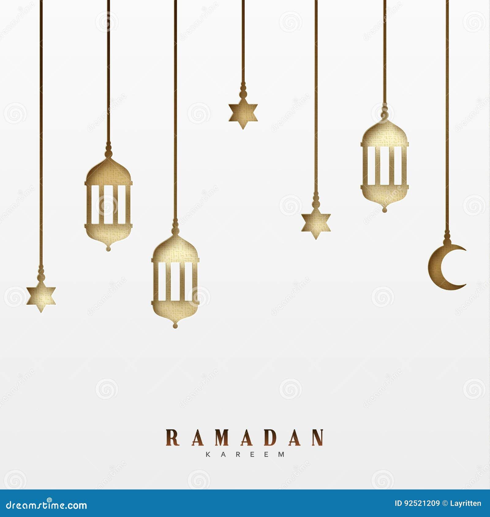 Arabiska lyktor eller lampor, hängande halva per månad och en stjärna Design för kort för Ramadan Kareem feriehälsning
