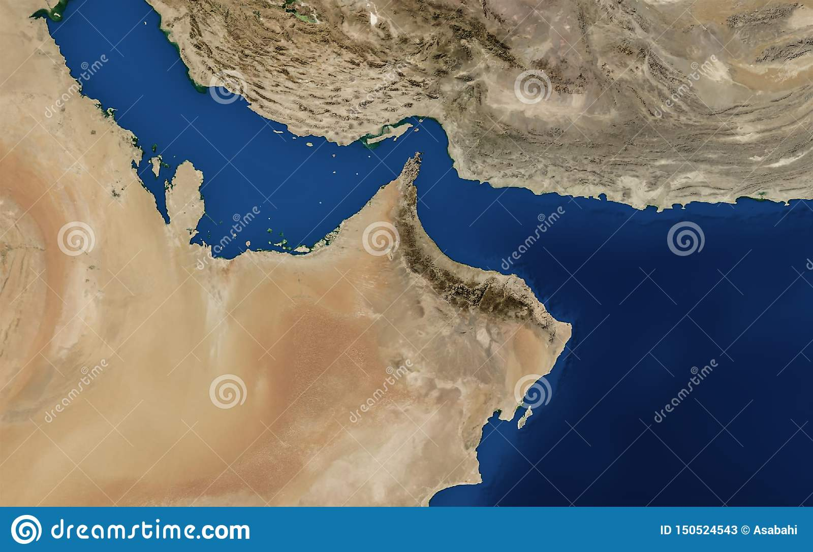 Arabska Zatoki Mapa Uae Oman Iran Qatar Bahrian Zatoka