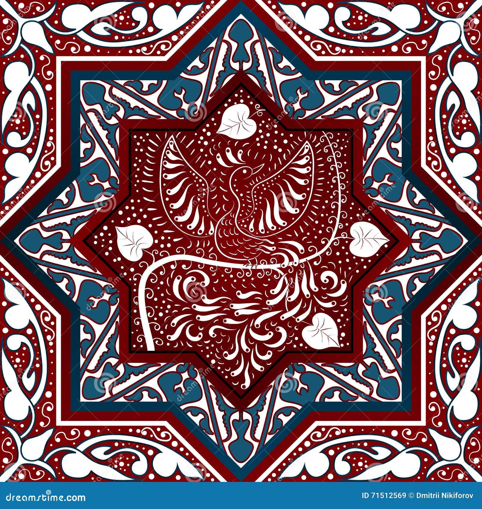 Arabski Bezszwowy wzór z ptasim Phoenix