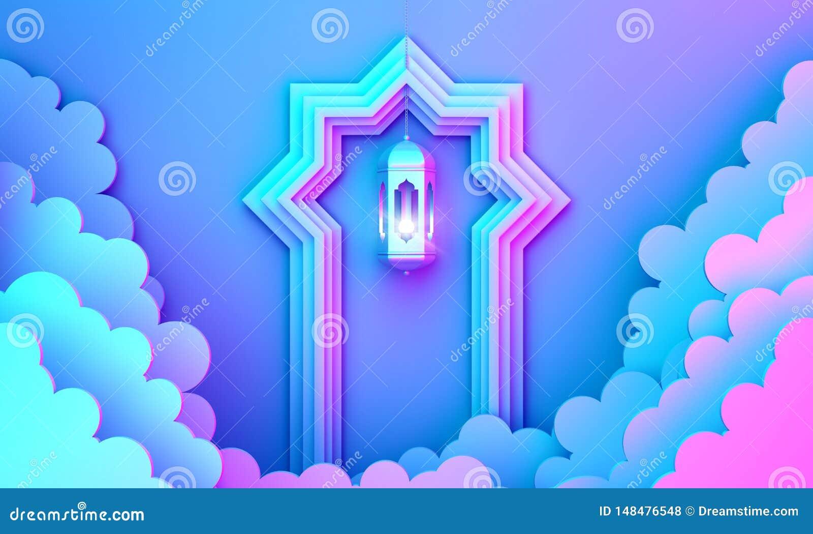 Arabski lampion, chmura, drzwi na błękit menchii tła kopii przestrzeni fiołkowym gradientowym tekscie