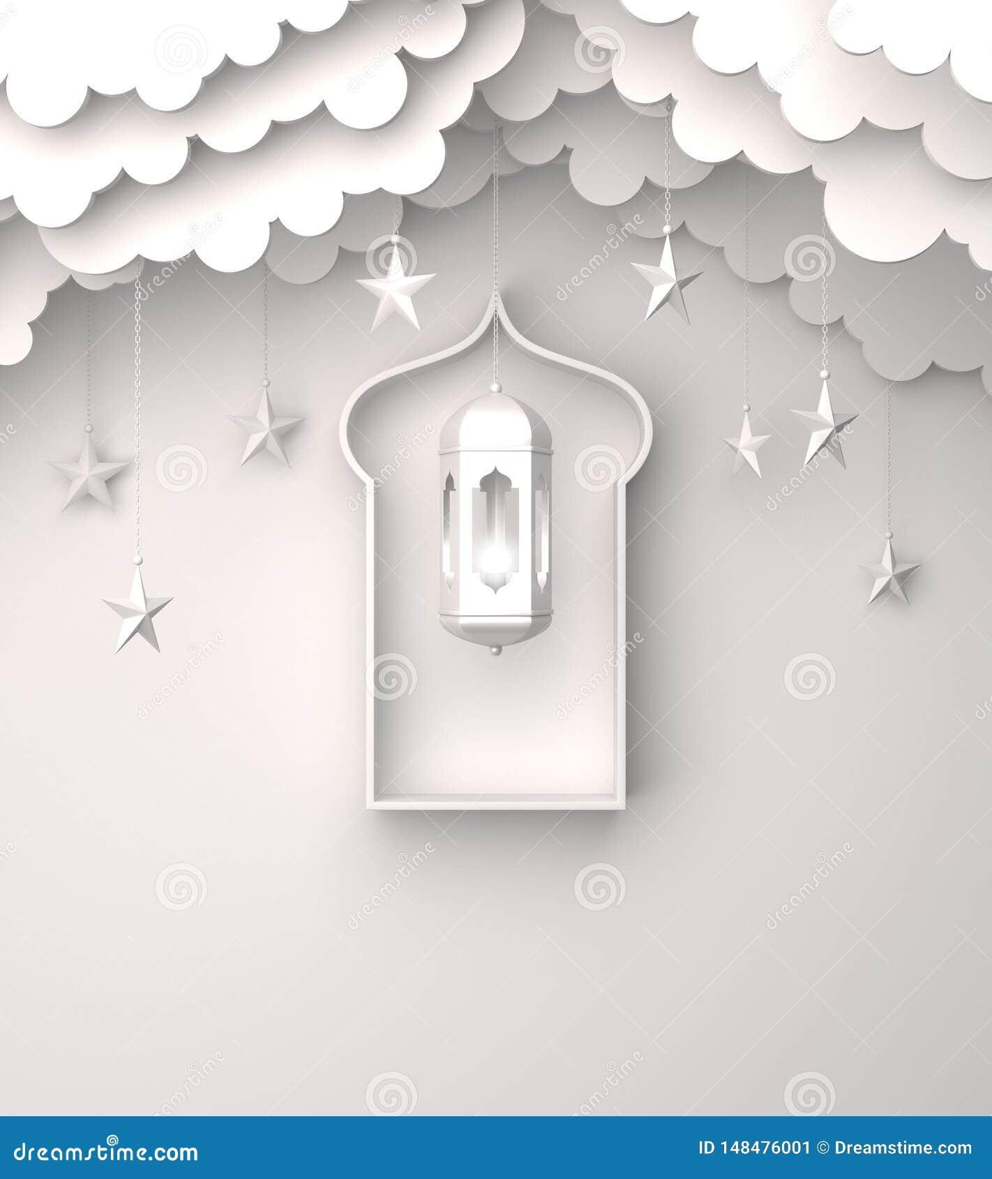 Arabski lampion, wiesza chmurę, gwiazda, okno na białym tło kopii przestrzeni tekscie