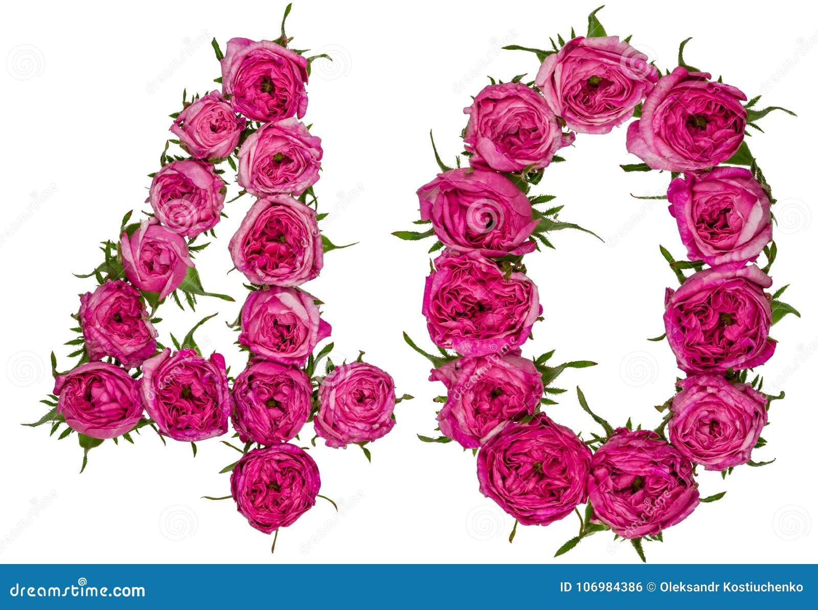 Arabski liczebnik 40, czterdzieści, od czerwonych kwiatów wzrastał, odizolowywa dalej