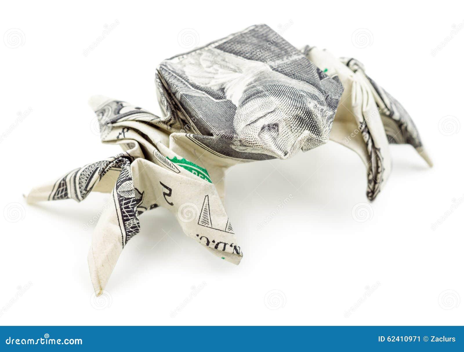 araignée d'origami du dollar d'isolement sur le fond blanc image