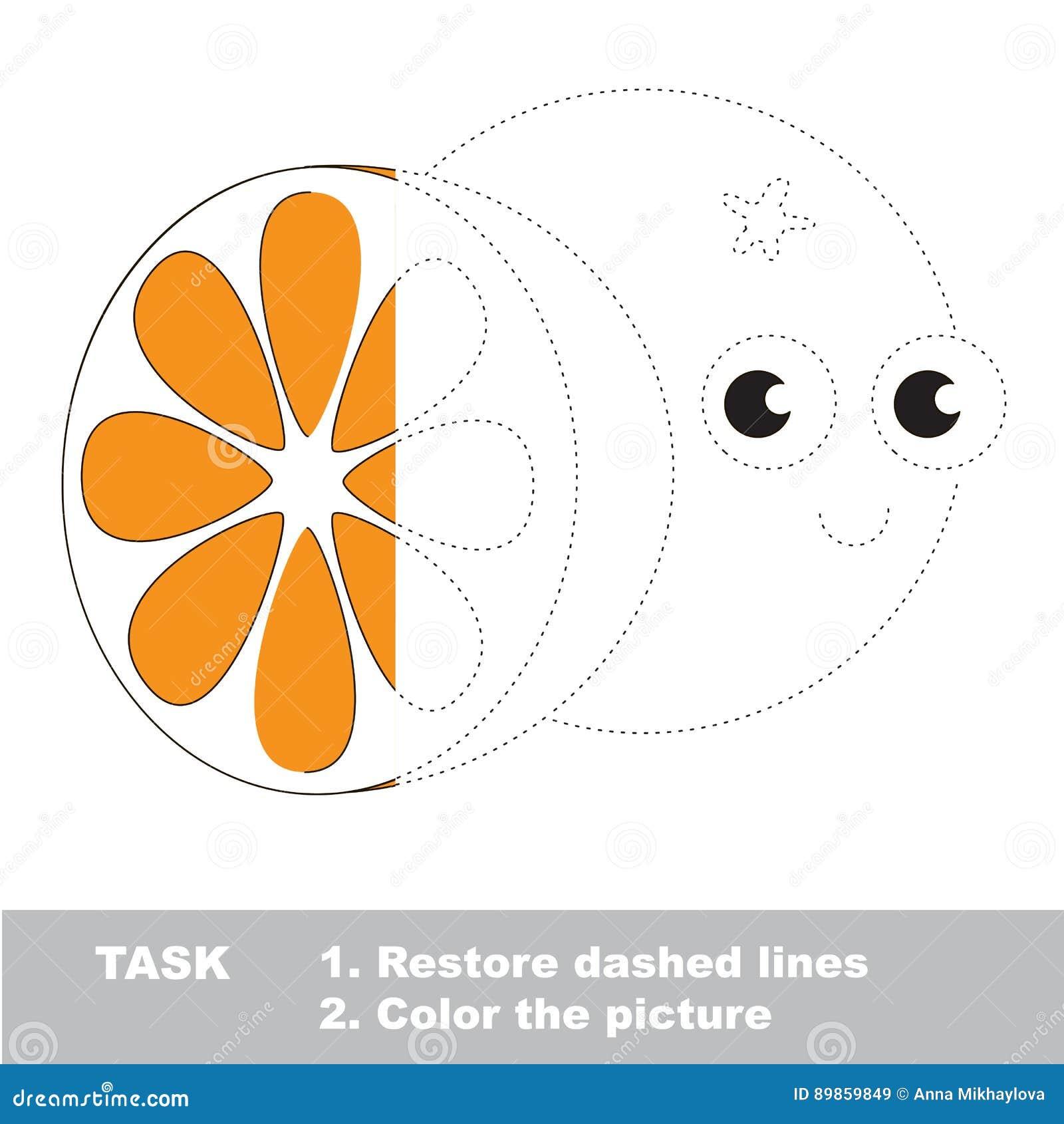 Arancia Da Colorare Gioco Della Traccia Di Vettore Illustrazione