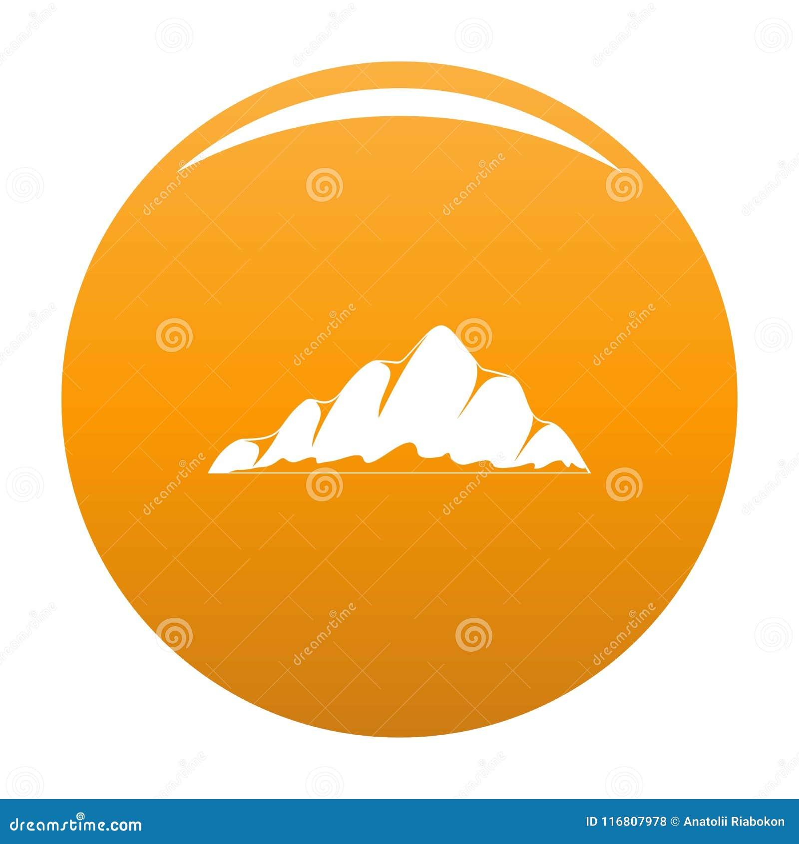Arancia di vettore dell icona del paesaggio della montagna