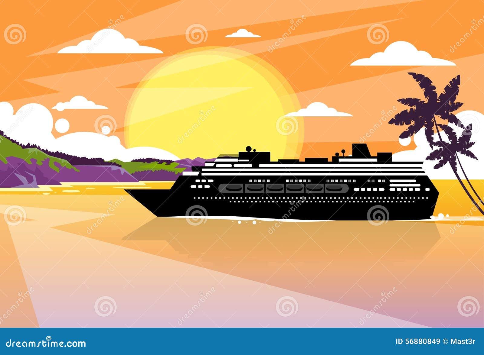 Arancia tropicale di tramonto dell isola della fodera della nave da crociera
