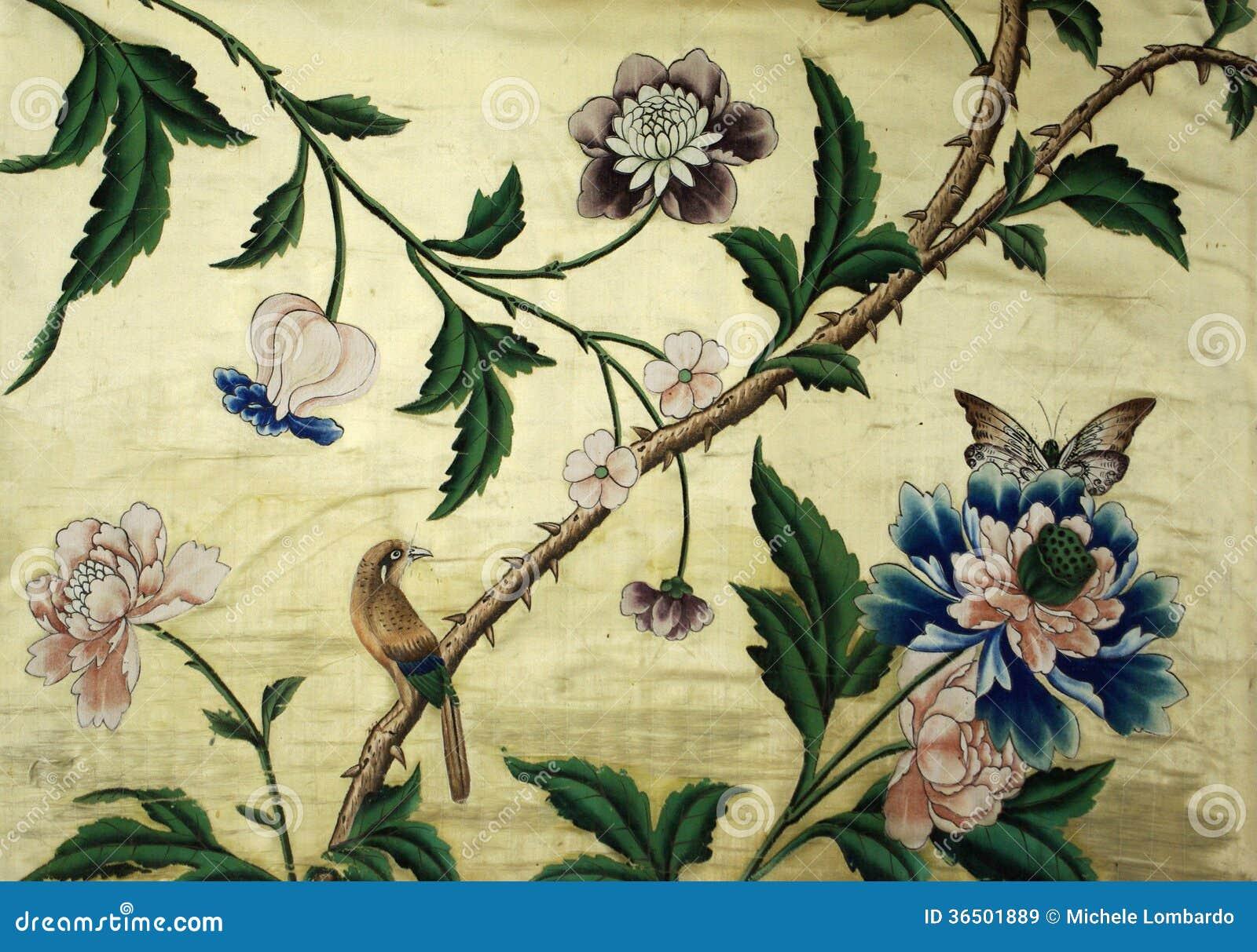 Arazzo avec l oiseau, le papillon et les fleurs