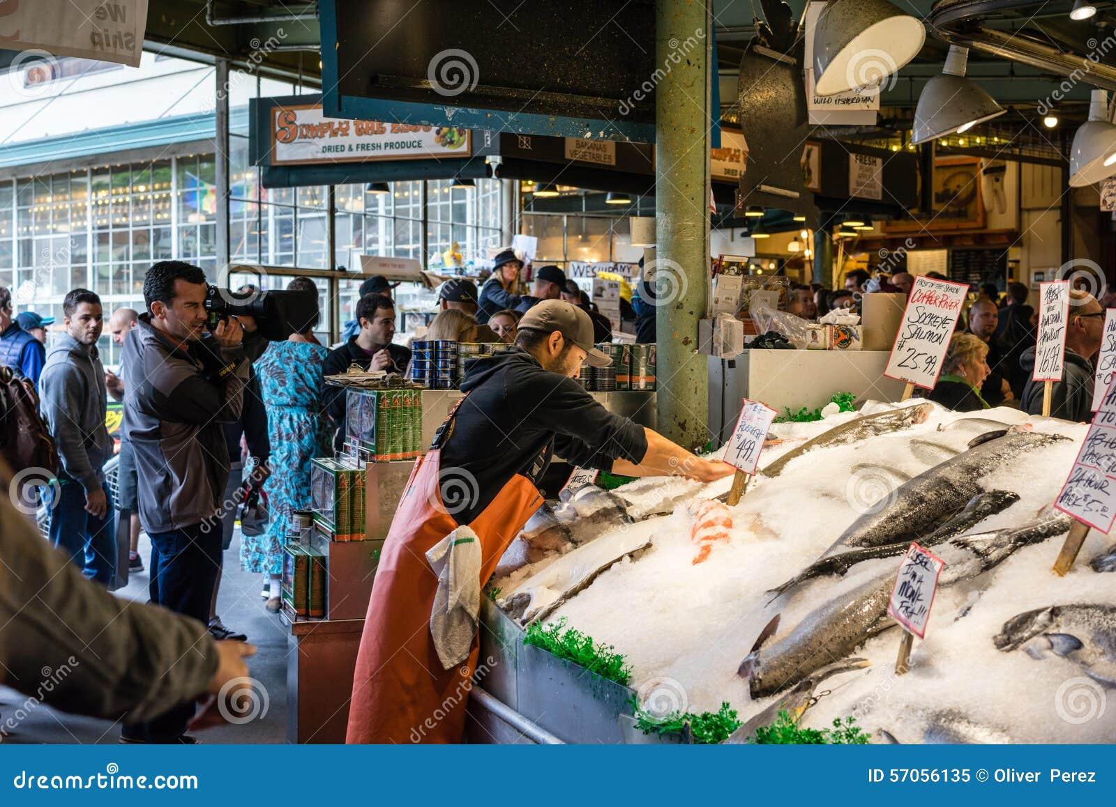 Arbeider bij de Vissenmarkt van de Snoekenplaats
