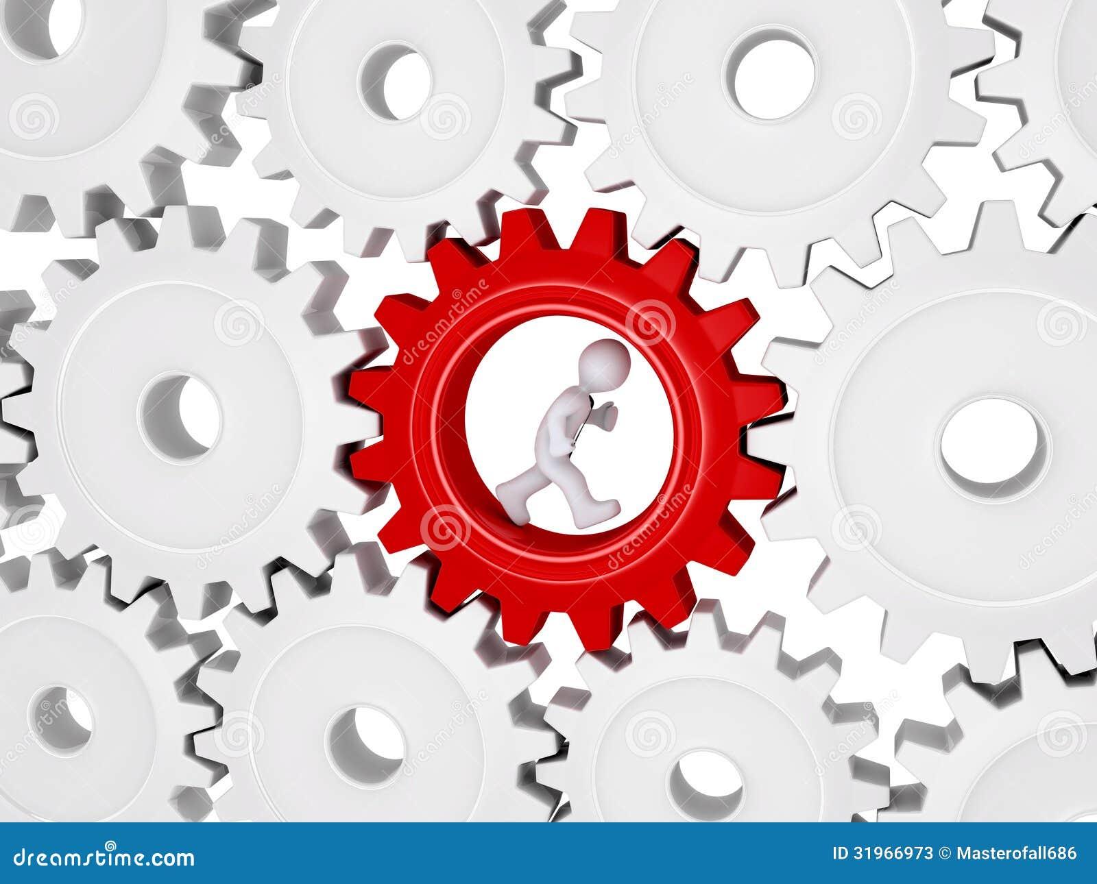 Arbeider die binnen van één tandrad uit velen lopen