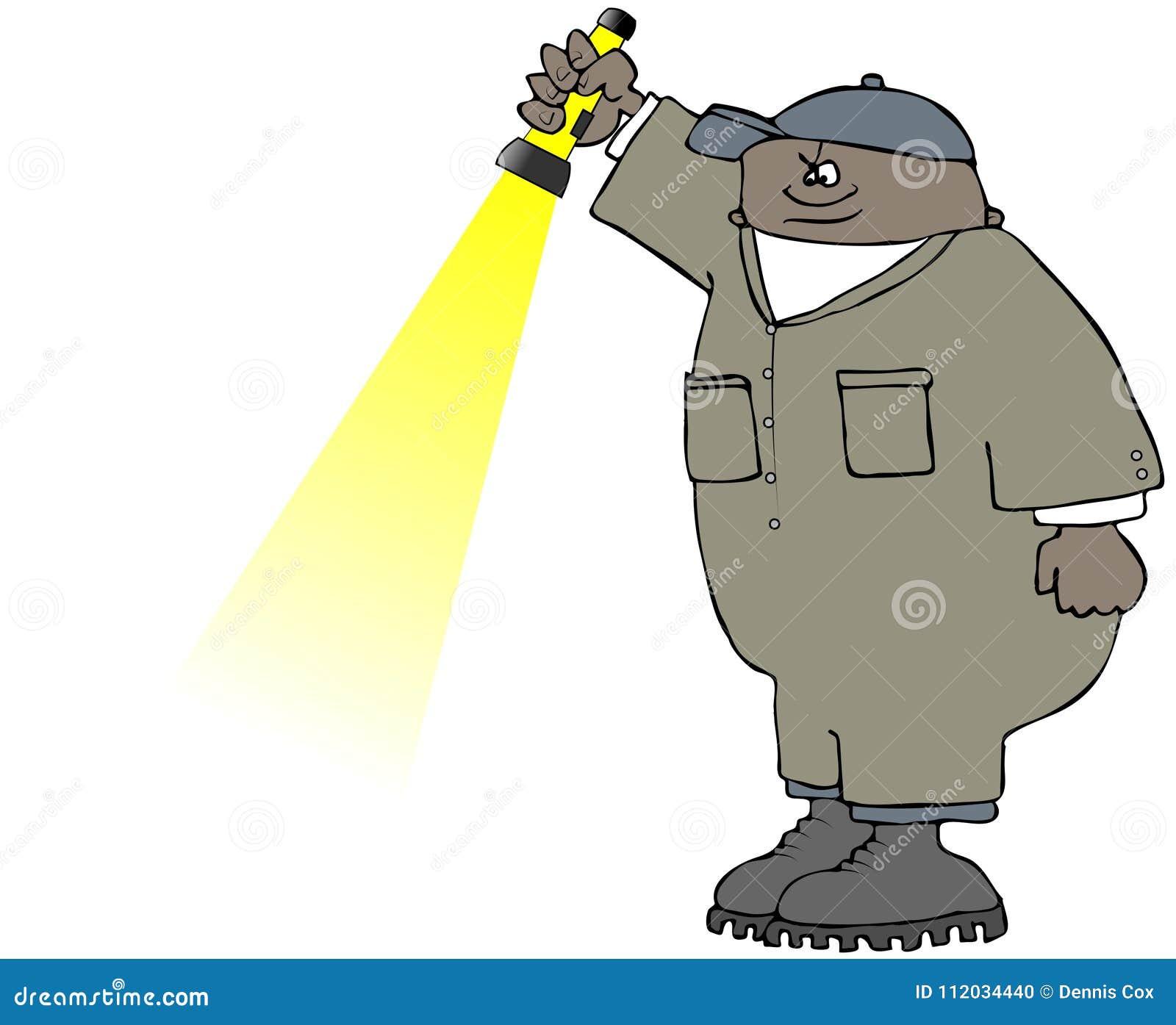 Arbeider die in overtrekken een flitslicht ter plaatse concentreren